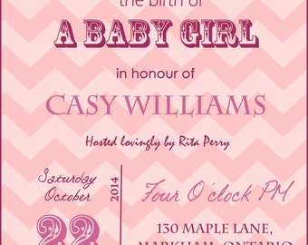 Rosy Pink / Baby Blue Chevron Baby Shower Digital Invitation