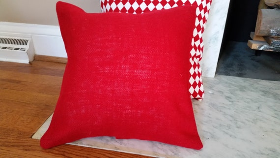 How To Make Removable Throw Pillow Covers With Velcro Closure : Burlap Pillow Covers with Velcro Closure Red Burlap Pillow