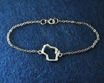Silver Wisconsin Bracelet,Custom Map Bracelet,Personalized Wisconsin Bracelet, Wisconsin Map jewelry,Map pendant,custom map jewelry