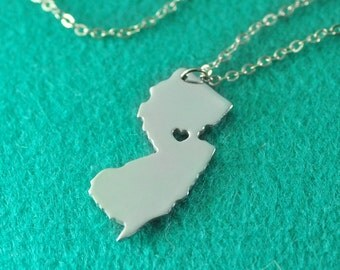 I love New Jersey Necklace I heart New Jersey Necklace, Custom State Map Necklace , Personalized State Pendant State Jewelry