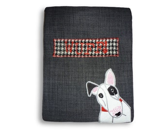 English Bull terrier appliqued I pad case