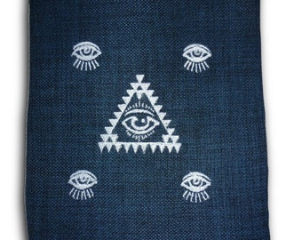 Hand crafted embroidered magic eye i pad case