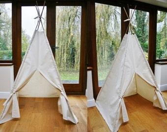 Handmade Plain Cream Calico Teepee. Children's Play Tent / Teepee / Tipi / Wigwam