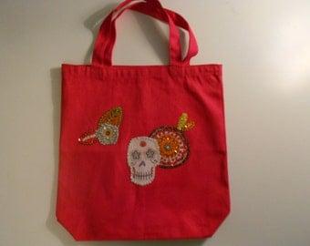 Pink Floral Skull Sequin Tote Bag