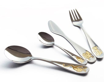 CHILDREN'S CUTLERY set, shiny + personalized engraving