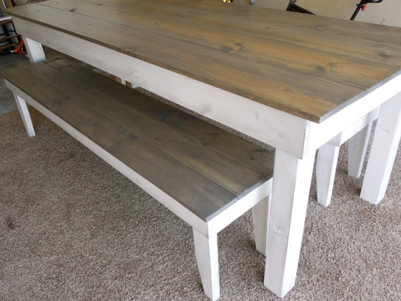 Farmhouse TABLE ONLY Harvest Table Primitive Dining Table