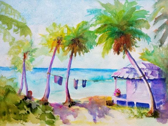 Tropical Beach House 12x16 Original Watercolor Beach