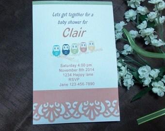 Baby shower invitation cards envelops