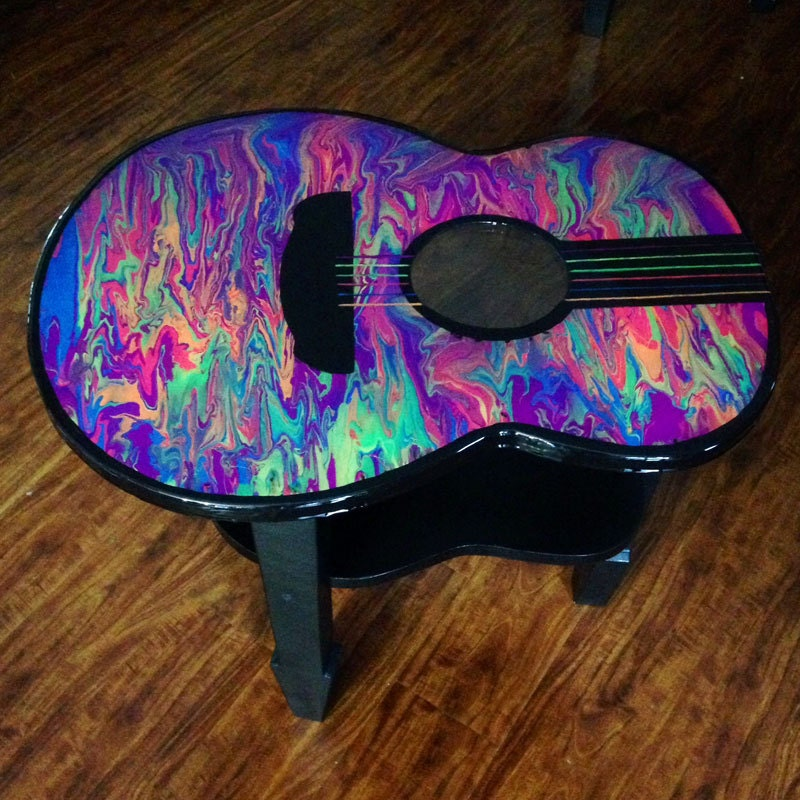 Colorful glow in the dark guitar accent table by - Glow in the dark table ...