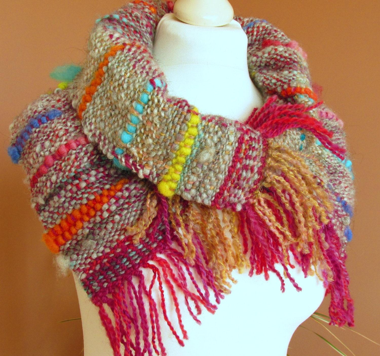 handwoven scarf saori scarf organic wool neck warmer
