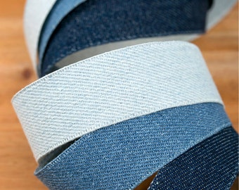 "Billie Jean Denim Fabric Ribbon. < 1"" (25mm), 1.5"" (40mm) - 3Colors>"