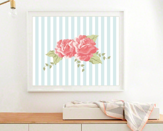 shabby chic art print modern nursery wall art roses kids. Black Bedroom Furniture Sets. Home Design Ideas