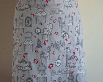 Antique furniture pleated skirt, A-line skirt, grey, roses, nostalgic, size EU 38/40 (USA 8/10 - UK 10/12), cotton, lining, zipper