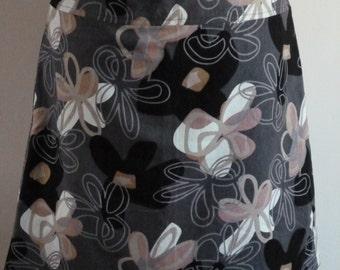 Linen flower print skirt, A-line skirt, size EU44 (USA 14 - UK 16), lining, zipper