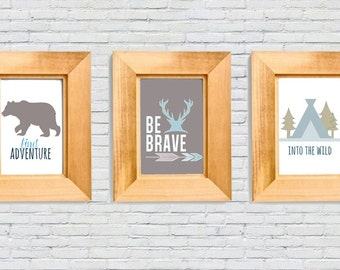 Adventure Camping Nursery 8x10 Printable Art Set of Three