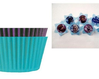 Frozen Cupcake Rings with Purple & Turquoise Baking Cups
