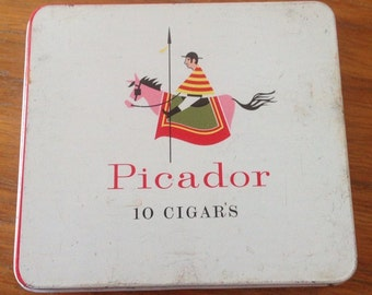 Retro Picador Cigar Tin With Cool Graphics Circa 1960's 70's