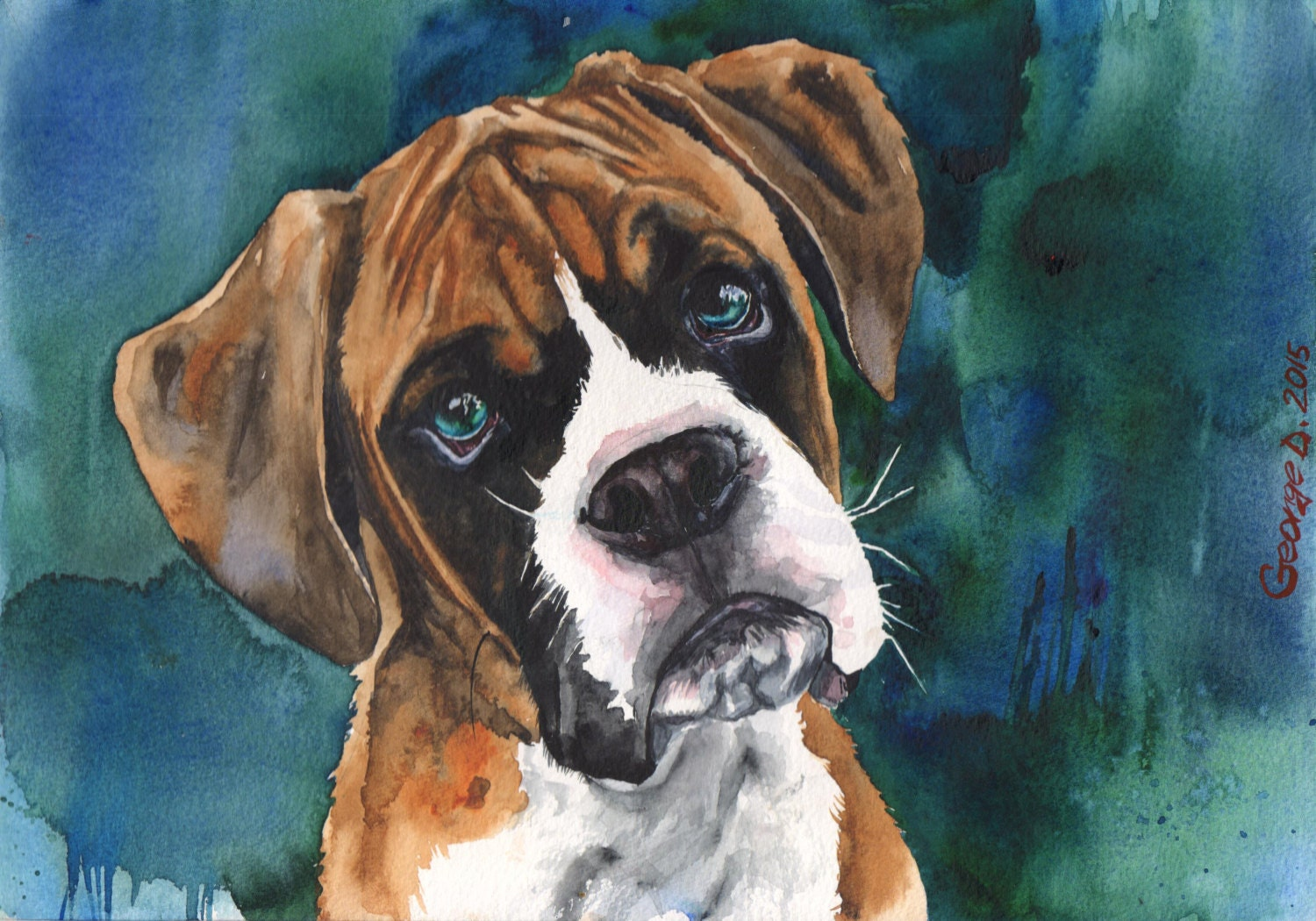 Boxer Dog Paintings For Sale
