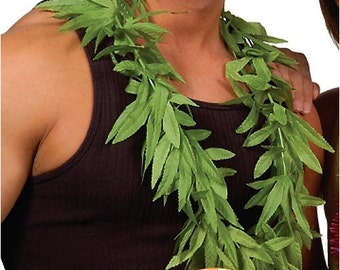 12 Pieces Luau Hawaiian Tropical Party Green Leaves Leis - Luau Party Supplies Assorted - Hawaiian Party Supplies - Luau - Wedding