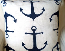 Navy Blue Nautical Pillow Covers, Decorative Throw Pillows, Cushions, Anchors, Throw Pillow, Beach Decor, Patio Pillow One or More All Sizes