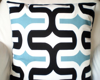 Decorative Throw Pillow Covers, Cushions, Regatta Blue Black White Geometric Embrace, Couch Pillows, Throw Pillow, One or More All Sizes