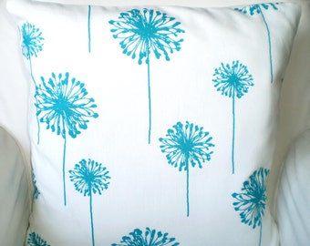 Turquoise Pillow Covers, Decorative Throw Pillows, Cushions, True Turquoise White Dandelion, Aqua, Euro Sham, Couch, One or More All Sizes