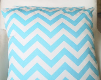 Aqua Chevron Pillow Covers, Decorative Throw Pillows, Cushion Cover Aqua White Zig Zag, Couch Bed Pillow, Pillow Case, One or More All Sizes