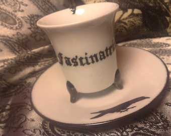 cup exlusive written latino:FASCINATRIX = WITCH,porcelain, hand painted,unique item