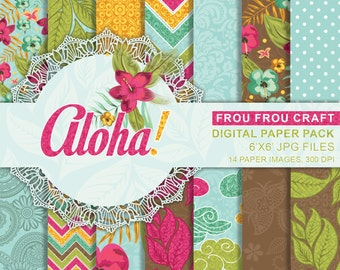 Aloha Digital Paper Pack Instant Download Summer Hawaii Blue Pink Green Sunny Party Tropical Hibiscus Colorful Flowers Bright 6x6 inches