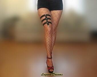 Black 5 Silver Button Strappy Leg Garter - Pole Dancing - Dancer - Exotic Dancewear