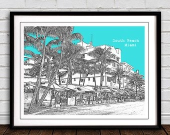 South Beach, Miami  Art Print City Poster  - great gift  for home or office decor. *Plus buy any 3 city prints & get 1 FREE!