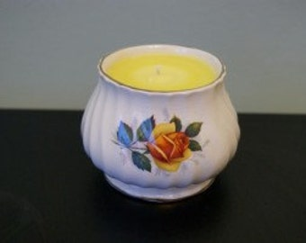 Scented Vintage China Pot Candle