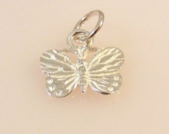 Sterling Silver Tiny Etched BUTTERFLY Charm Pendant Garden Insect .925 Sterling Silver New bf09