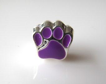 1 Purple Paw Large Big Hole European Charm - fits european style bracelet