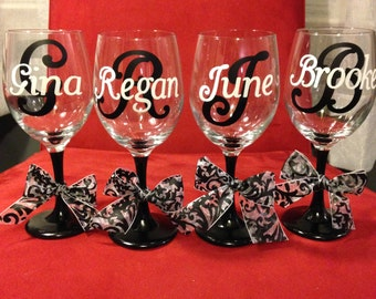 Set of 4 Personalized Wine Glasses
