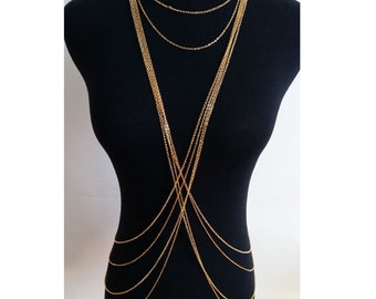 Body Chain Jewelry|Body Chain|Harness Body chain necklace|Gifts for Her|Body Chain Gold|Beach Jewelry|Bikini chain