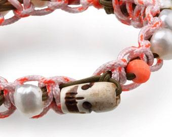 Bone skull bracelet, Neon bracelet, Gold bracelet men, Bullet bracelet, Beaded wrap bracelet, limited edition