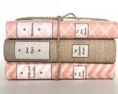 Custom book jackets, custom book covers, 3 covers (no books), coral books, decorative books, personalized books, bookshelf decor, bookcase