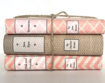 Decorative Books - Custom Book Covers - Custom Book Jackets - Coral - Personalized Gift - Book Lover Gift - Decorative Book Set - Bookshelf
