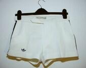 Vintage  man ADIDAS  White Classic  3 Stripe Shorts Tennis Shorts, 30 % OFF SALE