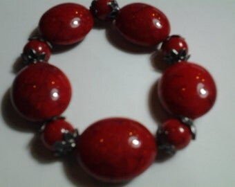 Deep Red Stretchy Bracelet