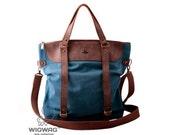 Large women's bag, genuine leather bag, blue bag, shoulder bag, canvas bag, convertible messenger, canvas leather bag, womens blue backpack