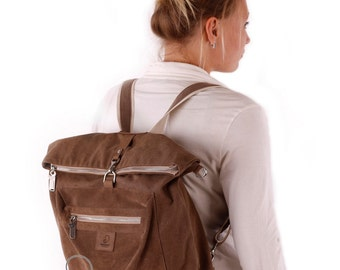 Womens bag, canvas leather bag, convertible bag, womens backpack, canvas backpack, convertible messenger, crossbody bag, womens canvas bag