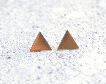 Small Upright Delta Triangle Brass Geometric Earrings