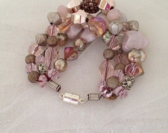 CLEARANCE PRICE Pink & Mauve Boho Multi Strand Bracelet