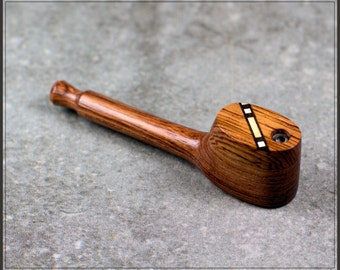 "Handcrafted 3.5"" Wooden Pipe with inlayed Swivel cap"