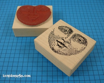 Moon Face Stamp / Invoke Arts Collage Rubber Stamps