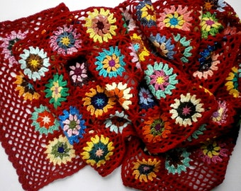 crochet granny in red and multicolor wool shawl stole