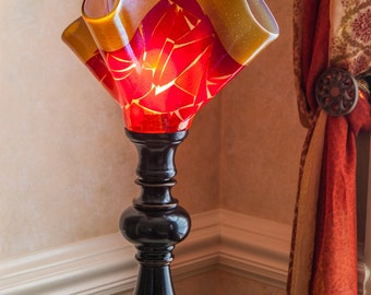 Table lamp, one of a kind, art glass lamp, handmade, amber and red table lamp, fused glass table lamp, Paris table lamp