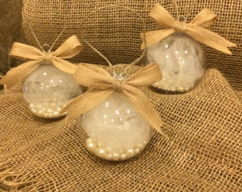 THREE RUSTIC CHIC Clear Christmas Ornaments with Pearls | Burlap Bow | Christmas Decor with Pearl | Handmade Ornaments | Holiday Decor